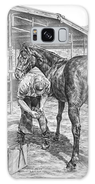 Trim And Fit - Farrier With Horse Art Print Galaxy Case