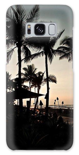 Tropical Island Silhouette Beach Sunset Galaxy Case by Valerie Garner