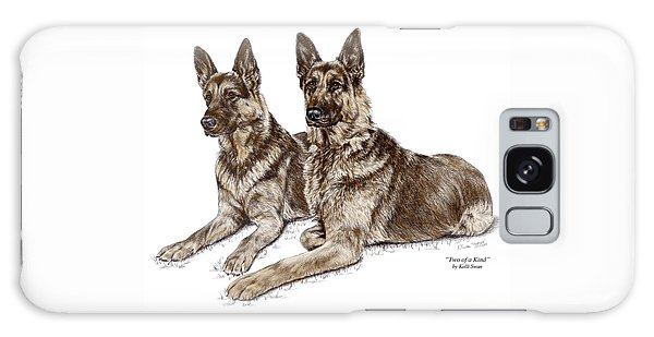 Two Of A Kind - German Shepherd Dogs Print Color Tinted Galaxy Case