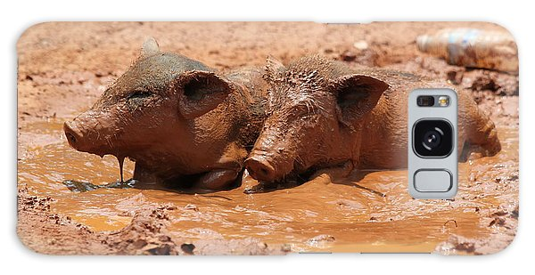 Two Pigs In A Puddle Galaxy Case by Nola Lee Kelsey