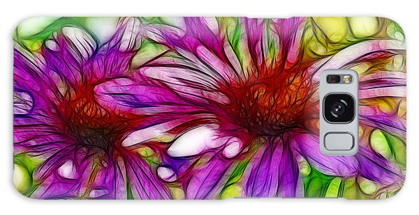 Two Purple Daisy's Fractal Galaxy Case by Donna Greene