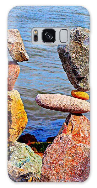 Sea Stacks Galaxy Case - Two Stacks Of Balanced Rocks by Garry Gay