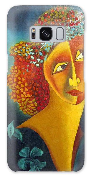 Waiting For Partner Orange Woman Blue Cubist Face Torso Tinted Hair Bold Eyes Neck Flower On Dress Galaxy Case