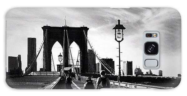 Classic Galaxy Case - Walking Over The Brooklyn Bridge - New York City by Vivienne Gucwa