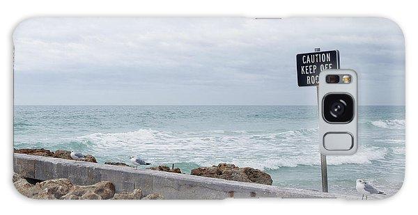 Bradenton Galaxy Case - Warning Sign At The Beach by Skip Nall