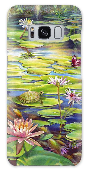 Water Lilies At Mckee Gardens I - Turtle Butterfly And Koi Fish Galaxy Case by Nancy Tilles