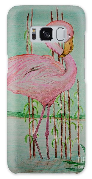 Watercolor Pencil Flamingo Galaxy Case
