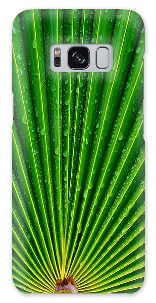 Waterdrops On Palm Leaf Galaxy Case