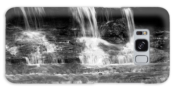 Waterfall Trio At Mcconnells Mill State Park In Black And White Galaxy Case