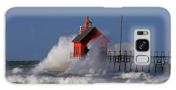 Waves Over The Grand Haven Outer Light Galaxy Case