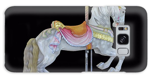 White Dappled Carousel Horse Galaxy Case