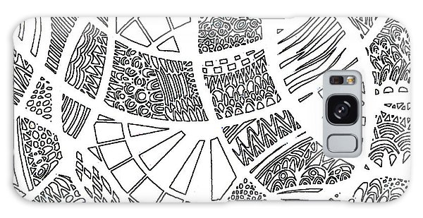Galaxy Case - White Doodle Circles by Karen Elzinga
