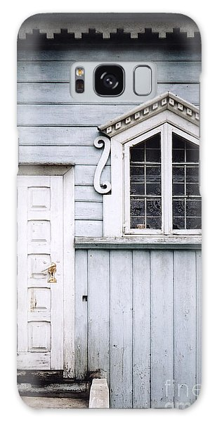 White Doors And Window On Bluish Wooden Wall Galaxy Case