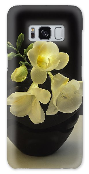White Freesias In Black Vase Galaxy Case by Susan Rovira