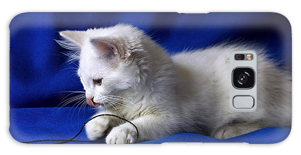 White Kitty On Blue Galaxy Case by Raffaella Lunelli