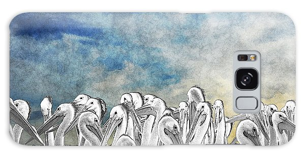 White Pelicans In Group Galaxy Case