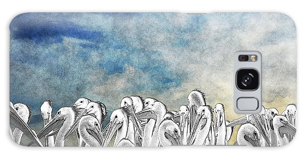 Galaxy Case featuring the photograph White Pelicans In Group by Dan Friend