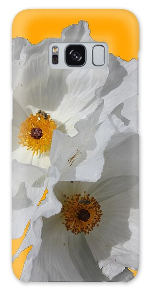 White Poppies On Yellow Galaxy Case by Betty Northcutt