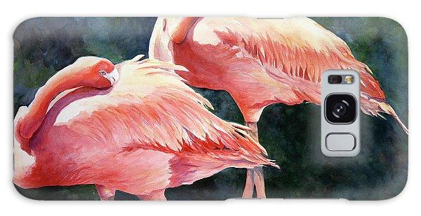 Who's Peek'n - Flamingos Galaxy Case by Roxanne Tobaison