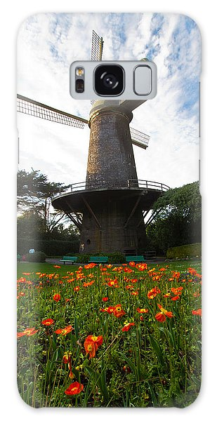 Windmill And Poppies Galaxy Case