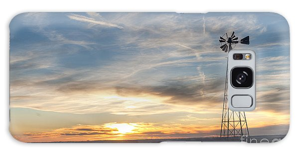 Windmill And Sunset Galaxy Case by Art Whitton