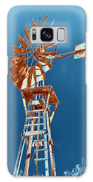 Windmill Rust Orange With Blue Sky Galaxy Case by Rebecca Margraf