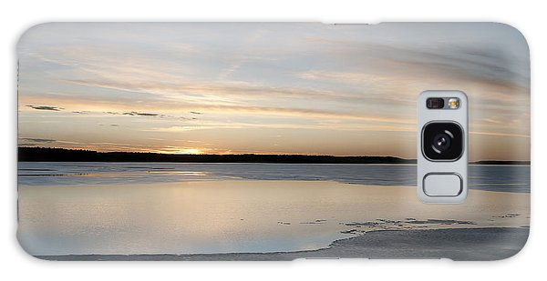 Winter Sunset Over Lake Galaxy Case by Art Whitton