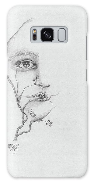Woman Face Growing Out Of A Tree Branch Black And White Surrealistic Fantasy  Galaxy Case by Rachel Hershkovitz
