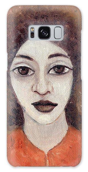 Woman With Large Dark Brown Eyes And Hair Orange Shirt Dark Eyebrows  Galaxy Case by Rachel Hershkovitz