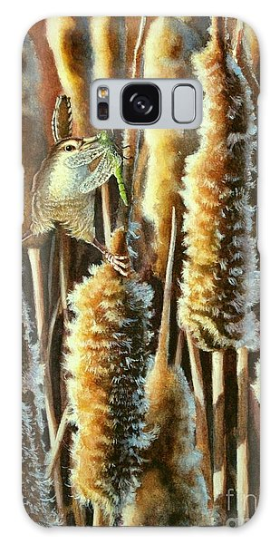 Wren And Cattails 2 Galaxy Case
