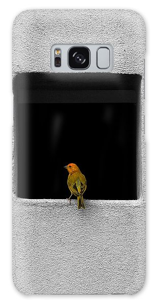 Yellow Birdie On The Window Sill Galaxy Case by Tracie Kaska