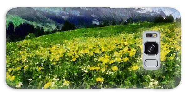 Yellow Fields Forever Galaxy Case by Elizabeth Coats