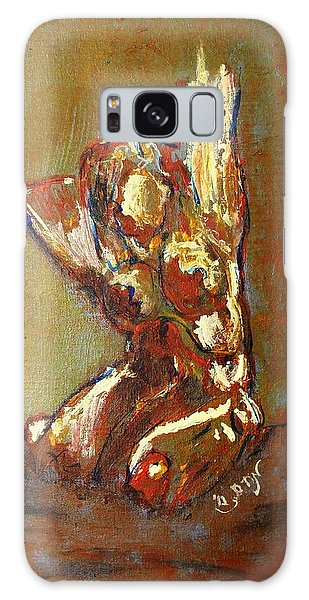 Yellow Orange Expressionist Nude Female Figure Statue Coming Alive Bold Anatomy Painting Galaxy Case