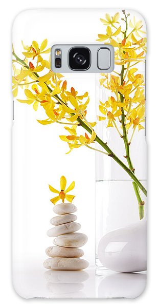 Yellow Orchid Bunchs Galaxy Case by Atiketta Sangasaeng