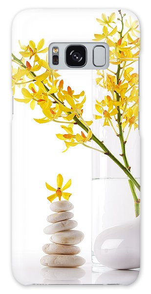 Vase Of Flowers Galaxy Case - Yellow Orchid Bunchs by Atiketta Sangasaeng