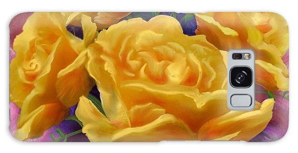 Yellow Roses Floral Art Galaxy Case by Judy Filarecki