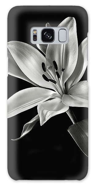 Yellow Tiger Lily In Black And White Galaxy Case by Endre Balogh