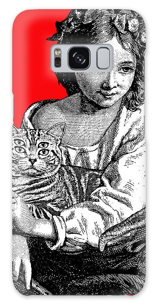 Young Girl With Cat Galaxy Case