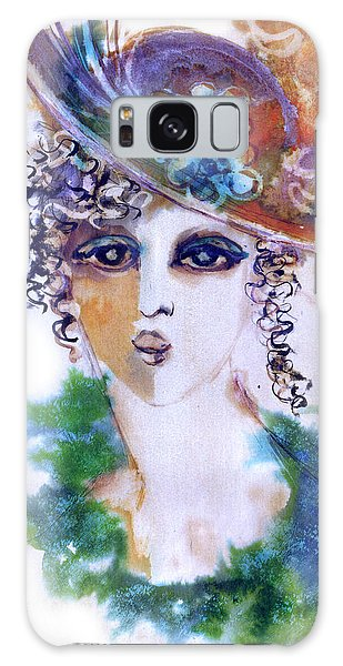 Young Woman Face With Curls In Blue Green Dress Purple Hat With Flower  Galaxy Case