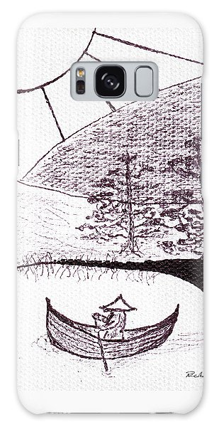 Zen Sumi Asian Lake Fisherman Black Ink On White Canvas Galaxy Case