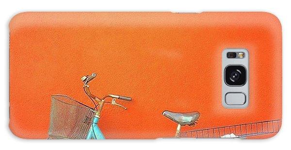 Blue Bike In Burano Italy Galaxy Case by Anne Hilde Lystad