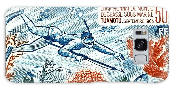 Scuba Diving Galaxy Case -  1965 French Polynesia Spearfishing Postage Stamp by Retro Graphics