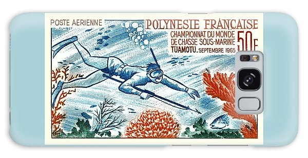 Reef Diving Galaxy Case -  1965 French Polynesia Spearfishing Postage Stamp by Retro Graphics