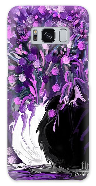 Flower Art Love Purple Flowers  Love Pink Flowers Galaxy Case
