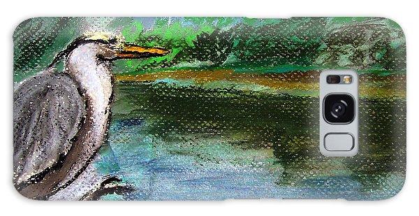 071115 Blue Heron Pastel Sketch Galaxy Case