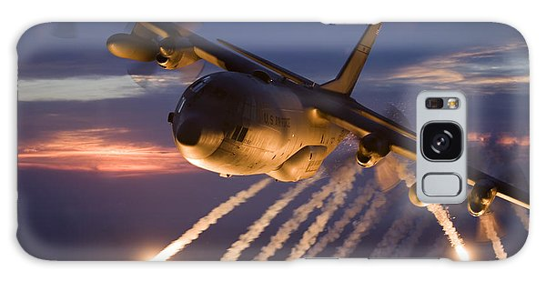 Galaxy Case featuring the photograph A C-130 Hercules Releases Flares by HIGH-G Productions