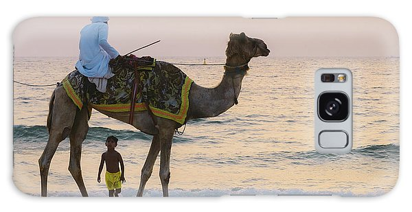 Little Boy Stares In Amazement At A Camel Riding On Marina Beach In Dubai, United Arab Emirates -  Galaxy Case