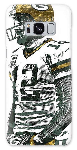 Aaron Rodgers Green Bay Packers Pixel Art 5 Galaxy Case by Joe Hamilton