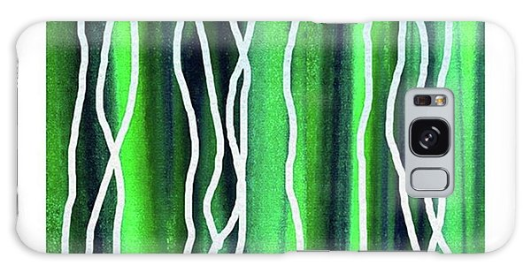 Galaxy Case - Abstract Lines On Green by Irina Sztukowski