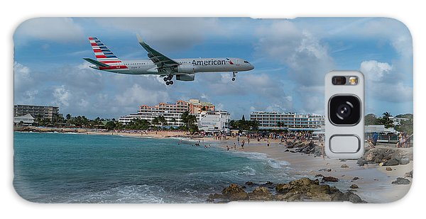 American Airlines Landing At St. Maarten Galaxy Case by David Gleeson